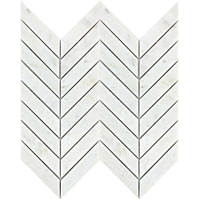 Winter Frost Chevron 12 in. x 12 in. x 9mm Marble Mesh-Mounted Mosaic Floor or Wall Tile (10 sq. ft. / case)