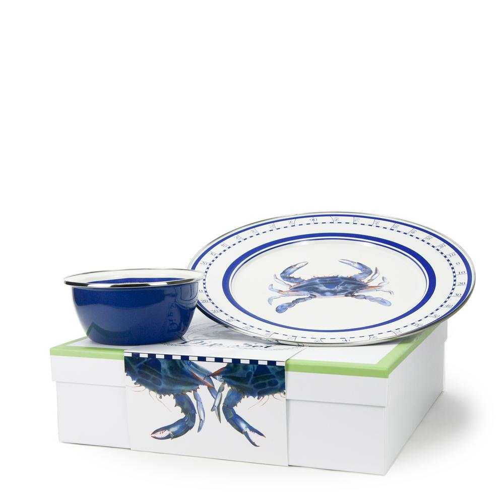 Blue Crab 12.5 in. 3-Cup 2-Piece Dip Set with Giftbox