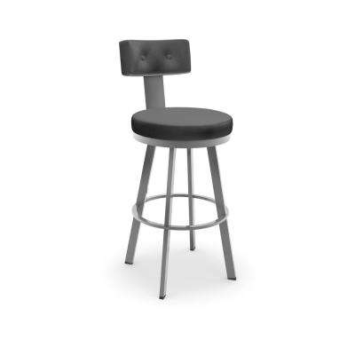 Tower 26 in. Glossy Grey Metal Charcoal Mat Charcoal Black Polyurethane Counter Stool