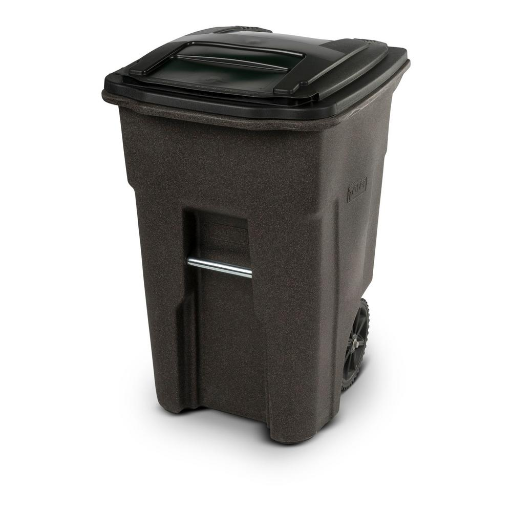 Toter 48 Gal Wheeled Brownstone Trash Can 25548 R1279 The Home Depot