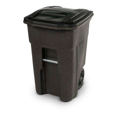 48 Gal. Brownstone Trash Can with Wheels and Attached Lid