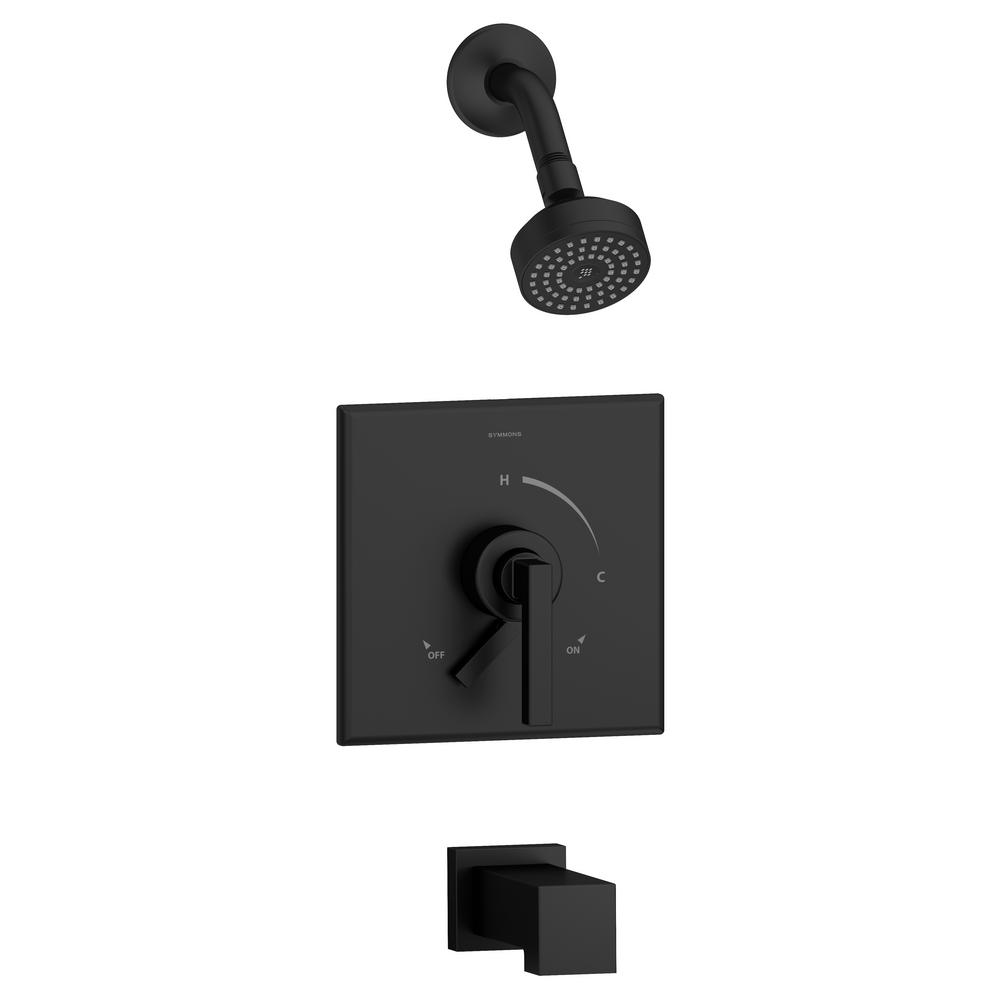 Symmons Duro Single Handle 1 Spray Tub And Shower Faucet Trim In Matte Black 1 5 Gpm Valve Not Included S 3602 Mb T4 1 5 Trm The Home Depot