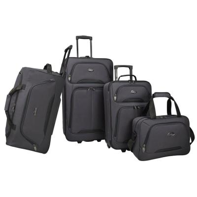 U.S Traveler Vineyard 4-Piece Softside Luggage Set, Charcoal