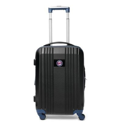 MLB Minnesota Twins 21 in. Navy Hardcase 2-Tone Luggage Carry-On Spinner Suitcase