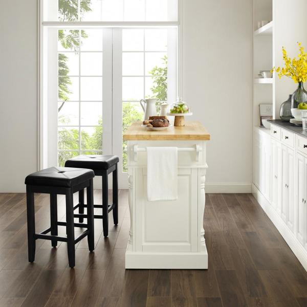 Oxford White Kitchen Island with Square Seat Stools