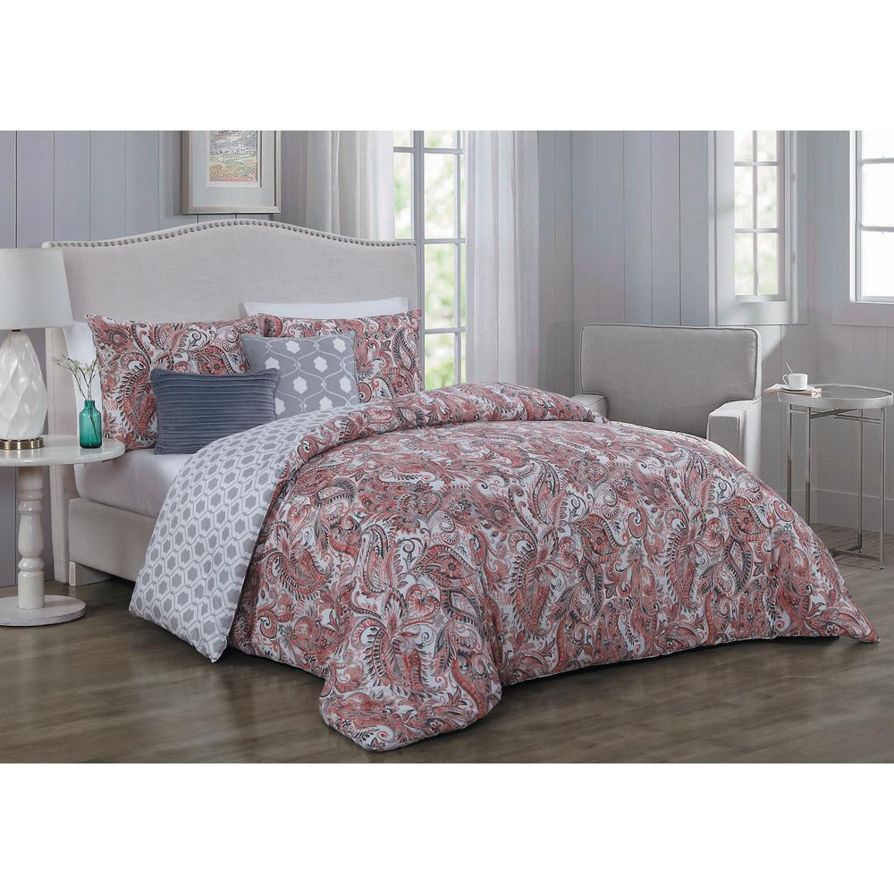 Dominica 5-Piece Coral and Linen Queen Comforter Set