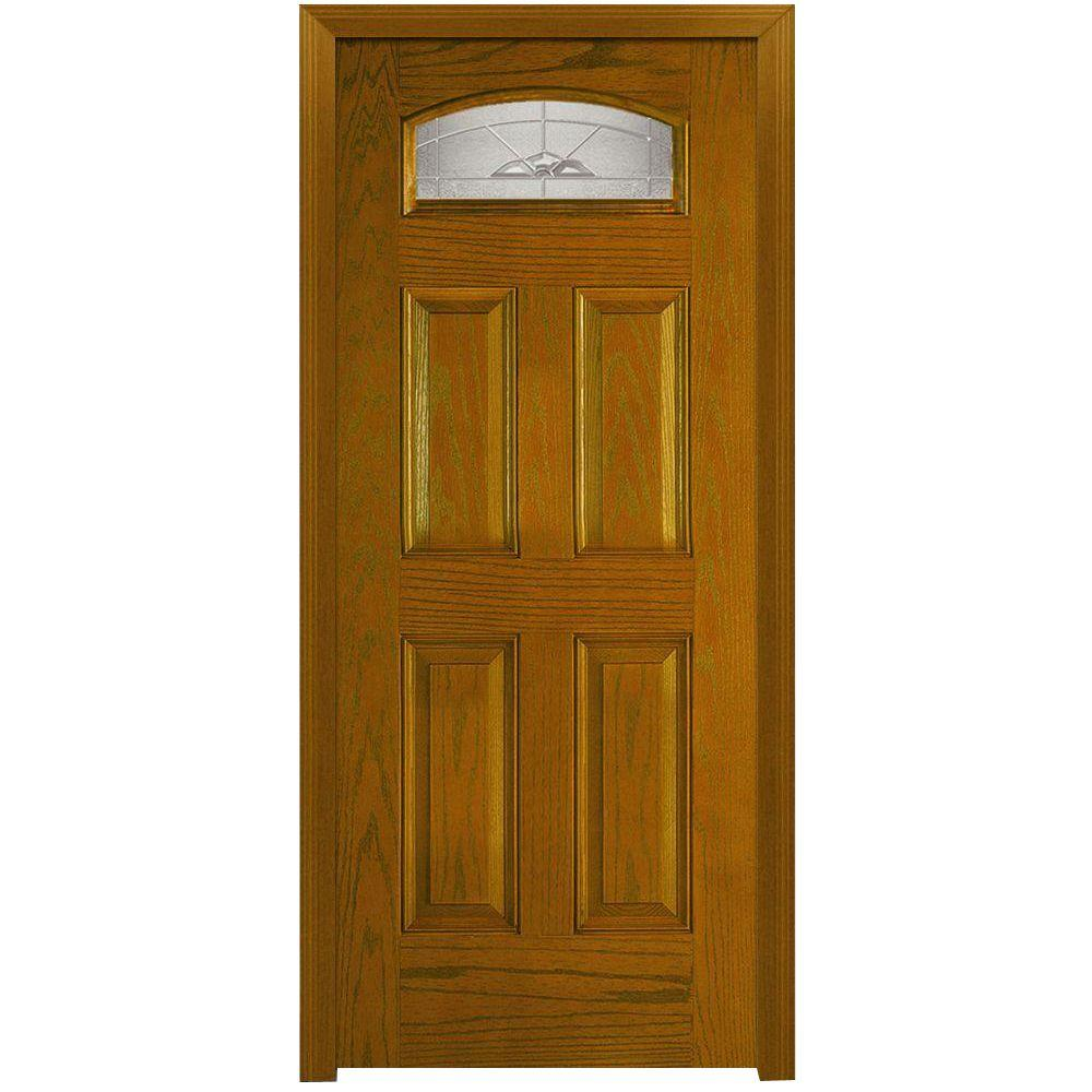 Milliken Millwork 32 in. x 80 in. Master Nouveau Decorative Glass 1/4 Lite 4-Panel Finished Oak Fiberglass Prehung Front Door