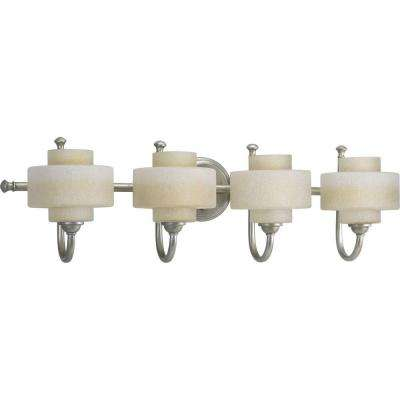 Ashbury Collection 4-Light Silver Ridge Bathroom Vanity Light with Glass Shades
