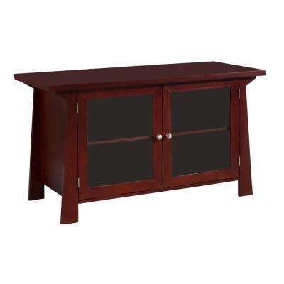 Brown Wood Glass Door Entertainment Center