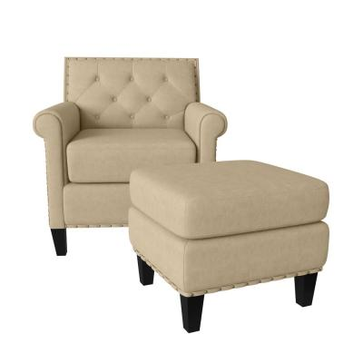 Angie Button in Distressed Latte Tan Faux Leather Tufted Rolled Arm Chair and Ottoman Set
