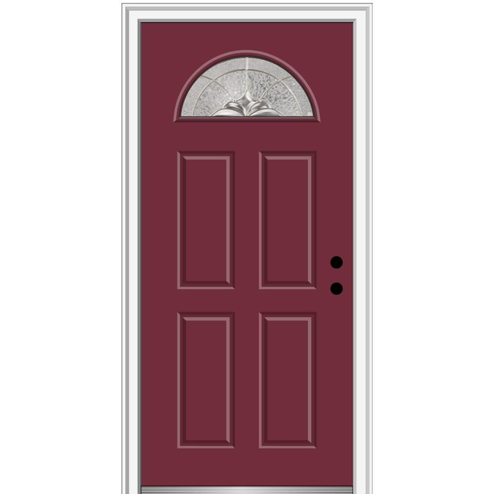 32 in  x 80 in  Heirlooms Left-Hand Inswing 1/4-Lite Decorative 4-Panel  Painted Fiberglass Smooth Prehung Front Door