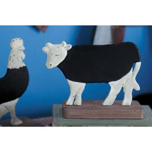 6 inch Cow Chalkboard Decorative Figurine in Distressed White, Natural Brown and Matte Black by