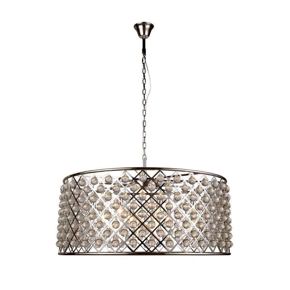 Madison 10-Light Polished Nickel Royal Cut Crystal Clear Pendant