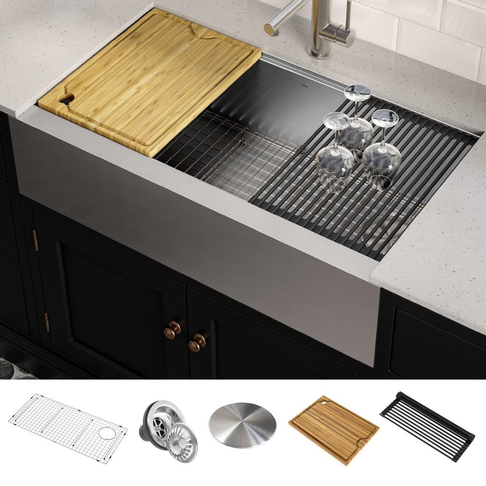 Kraus Kore Workstation Farmhouse Apron Front Stainless Steel 36 In Single Bowl Kitchen Sink
