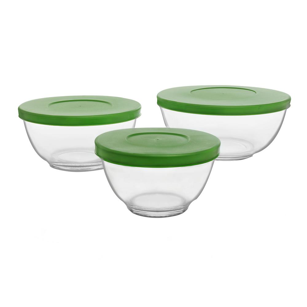 libbey baker 39 s basics clear glass mixing bowl with lid set of 3 57017 the home depot. Black Bedroom Furniture Sets. Home Design Ideas