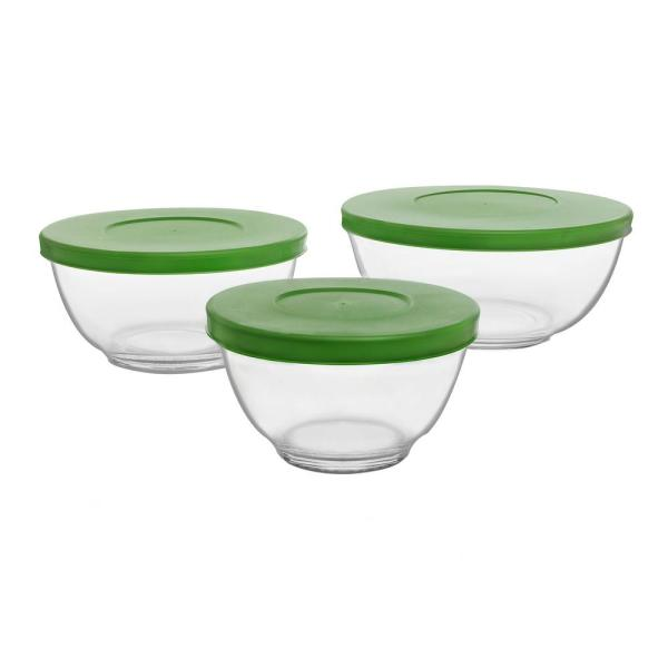 Libbey Baker's Basics Clear Glass Mixing Bowl with Lid (Set of 3)