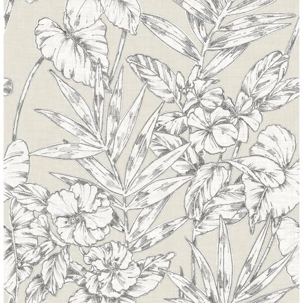 A-Street Fiji Beige Floral Wallpaper Sample 2744-24104SAM