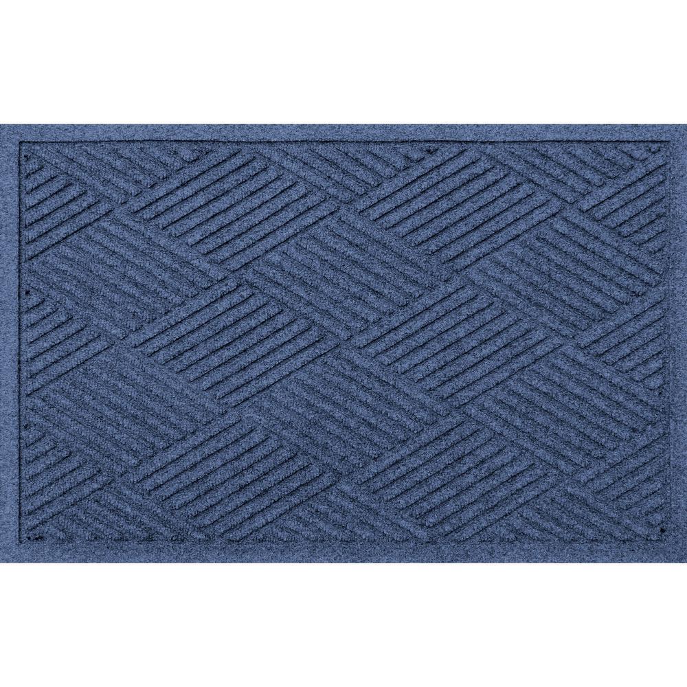 Aqua Shield Diamonds 23 in. x 35 in. PET Polyester Doormat Navy