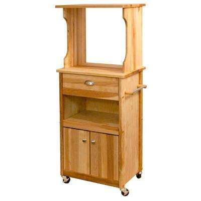 Catskill Natural Kitchen Cart With Hutch Top