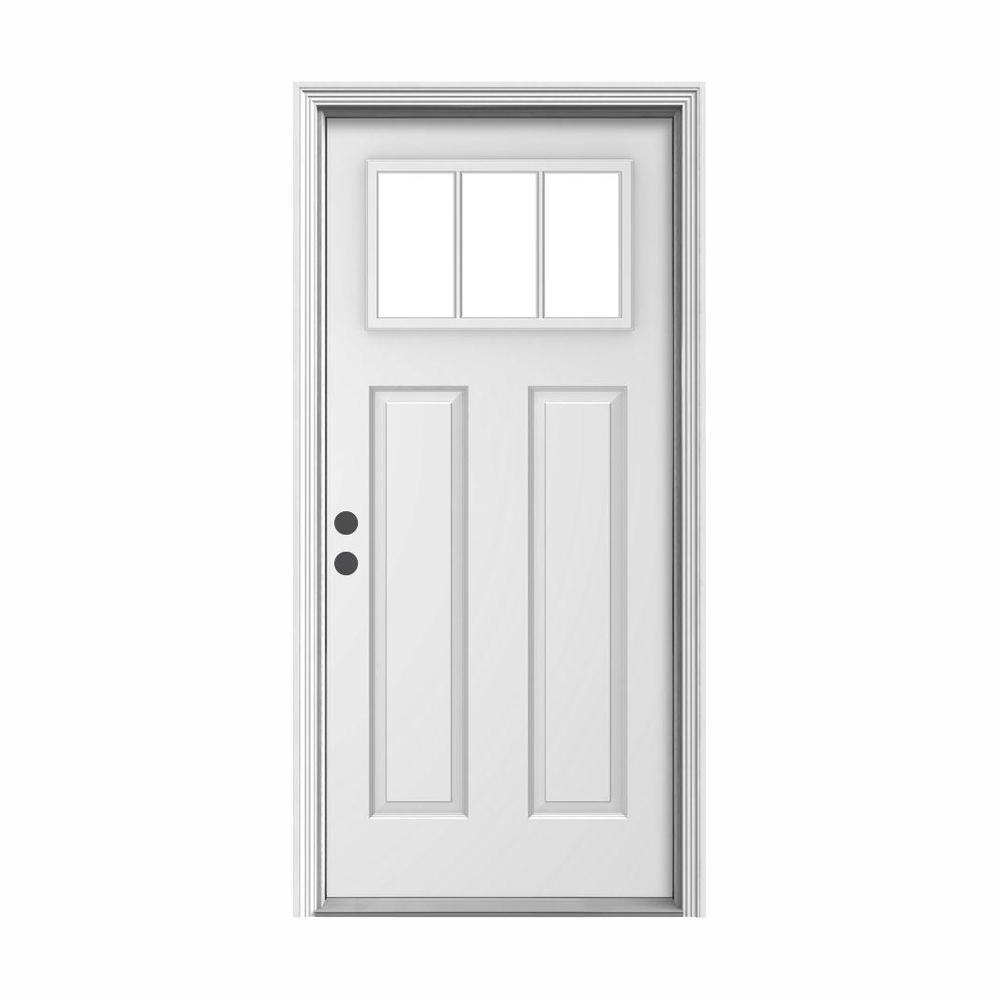 36 in. x 80 in. 3 Lite Craftsman Primed Steel Prehung Right-Hand Inswing Front Door w/Brickmould