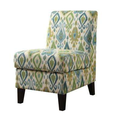 Ollano II Green Pattern Accent Chair with Storage