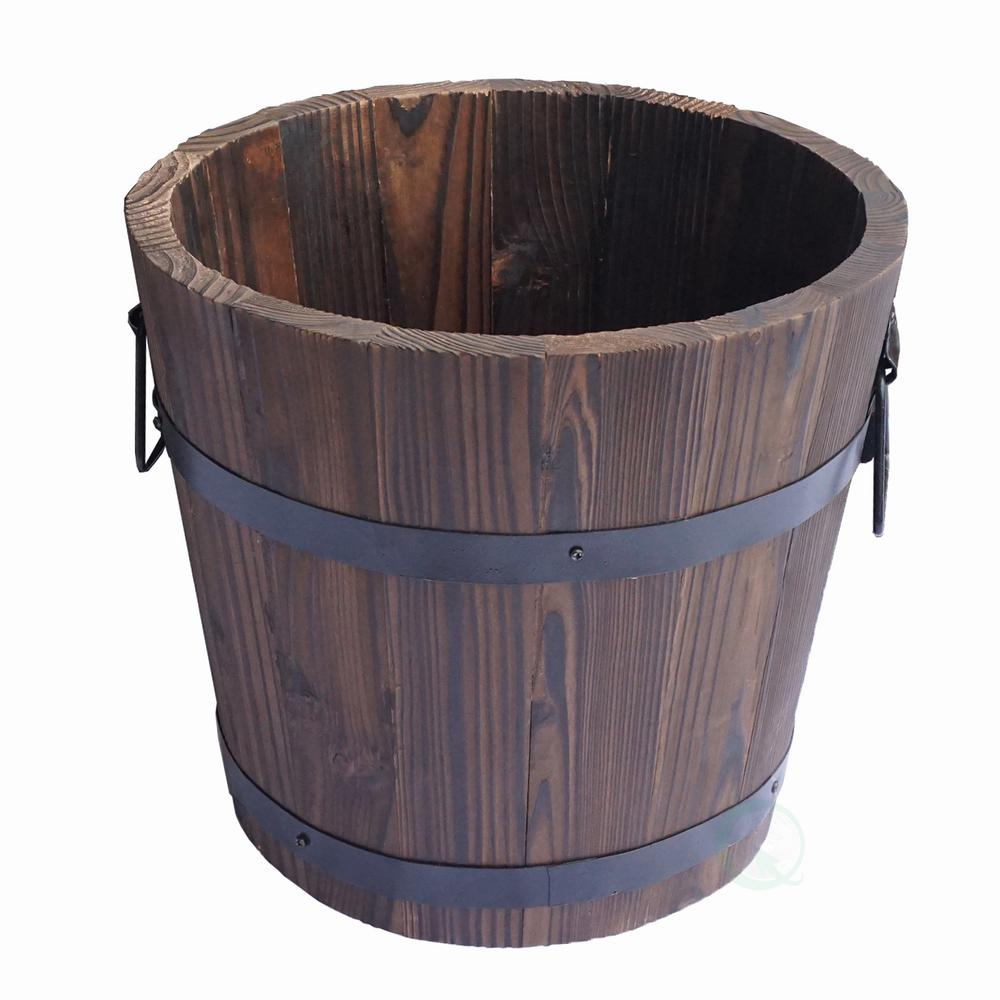 Large Wooden Barrel Planters: Gardenised 10 In. H X 12 In. Dia Extra Large Wooden