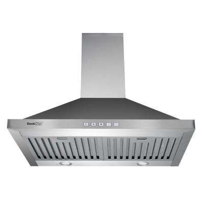 30 in. Kitchen Wall Mount with LED Light in Stainless Steel Touch Control Range Hood