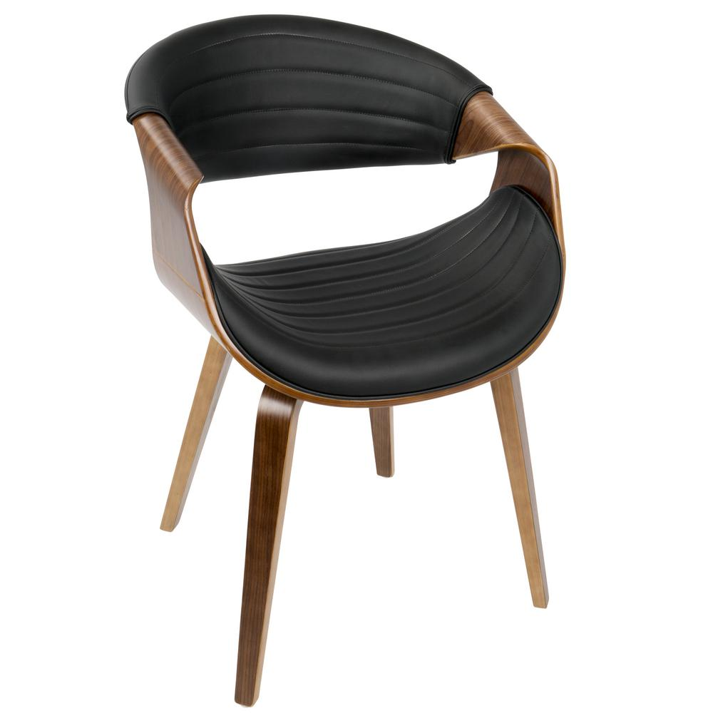 Gentil Lumisource Symphony Mid Century Walnut And Black Modern Dining/Accent Chair  With Faux Leather