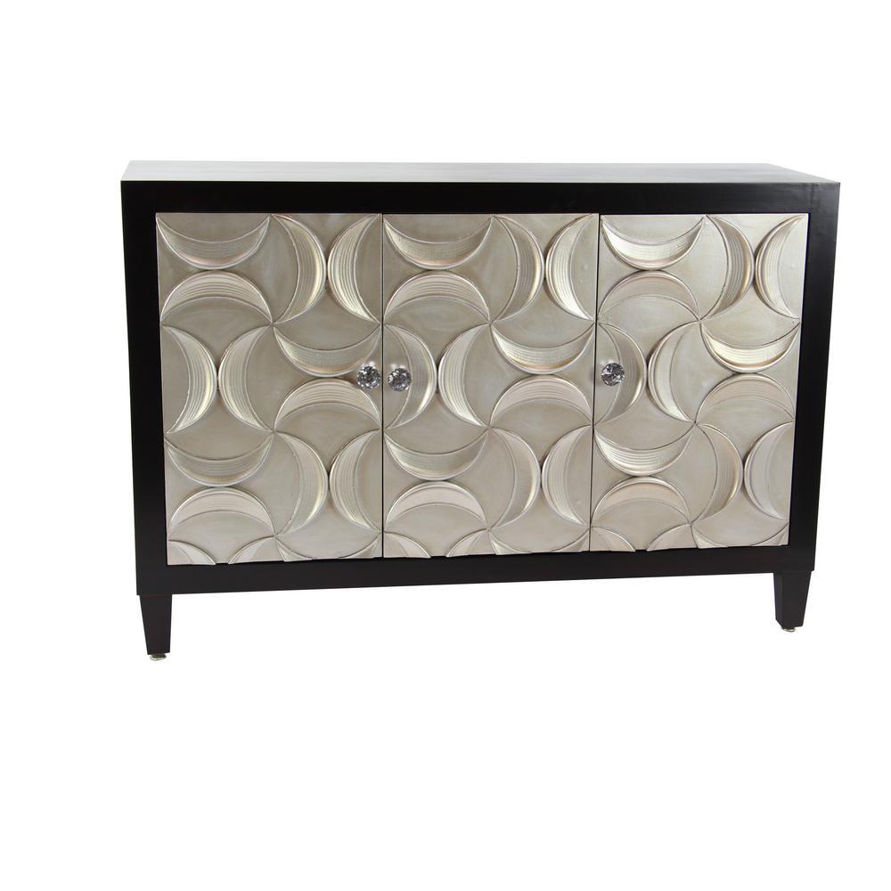 Black Rectangular Wooden 3-Door Cabinet with Crescent Moon-Shape Patterned Doors