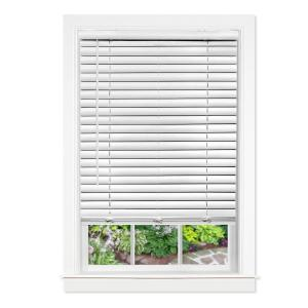 Home Basics White Cordless 1 In Light Filtering Vinyl Mini Blind 44 1 4 In W X 64 In L Ccdlf4864 44 25 The Home Depot