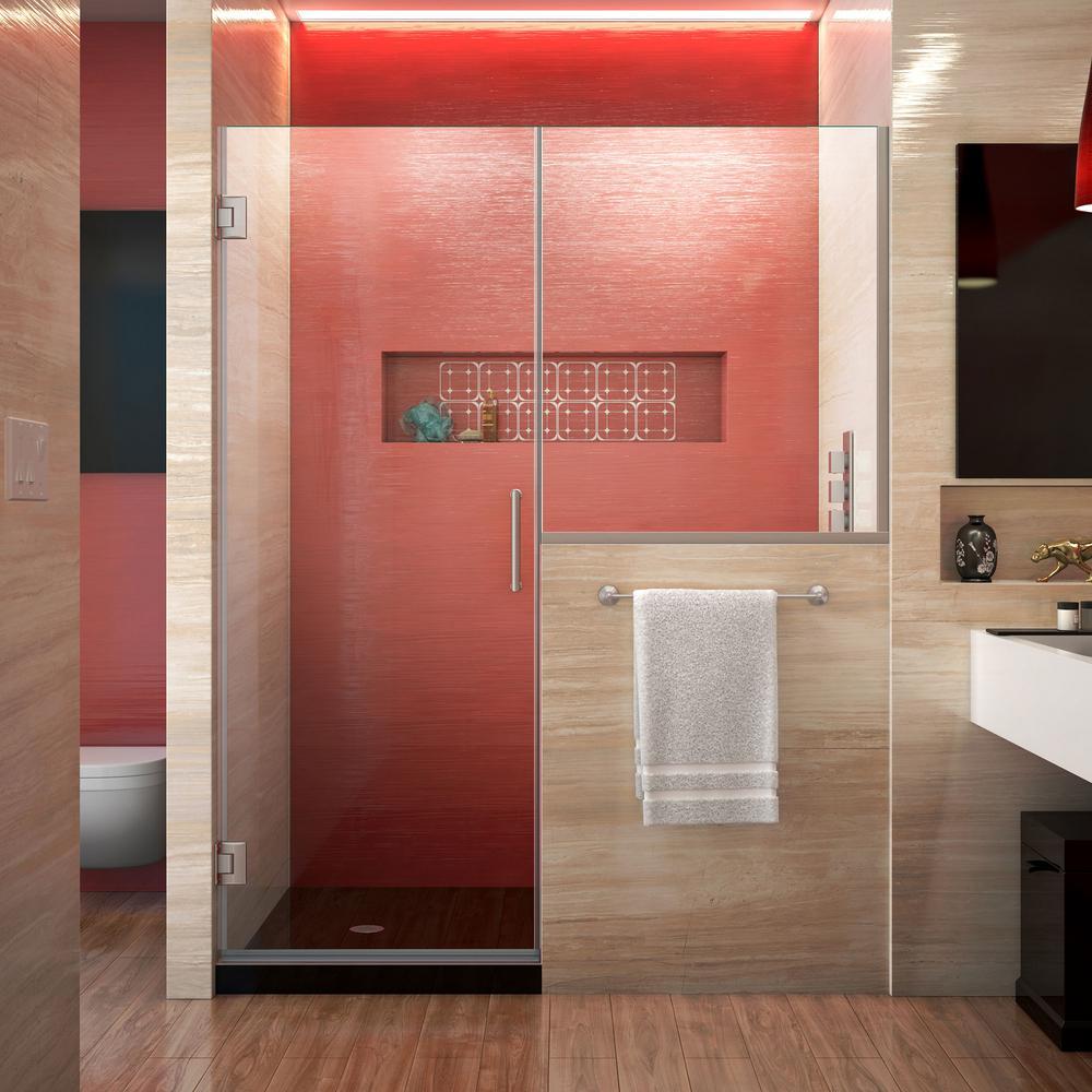 Unidoor Plus 64 to 64.5 in. x 72 in. Frameless Hinged Shower Door in Brushed Nickel