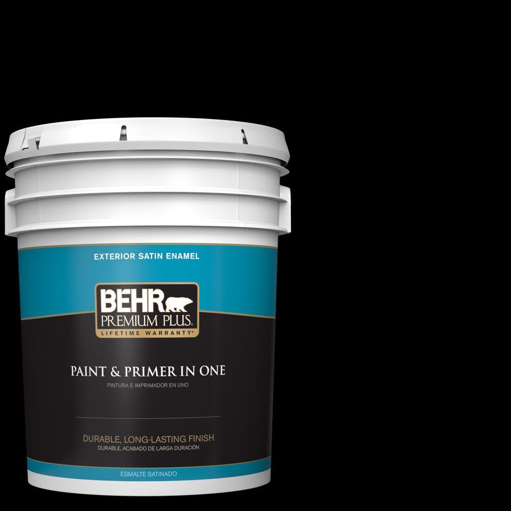 Behr premium plus 5 gal black satin enamel exterior paint for Exterior paint satin 5 gal