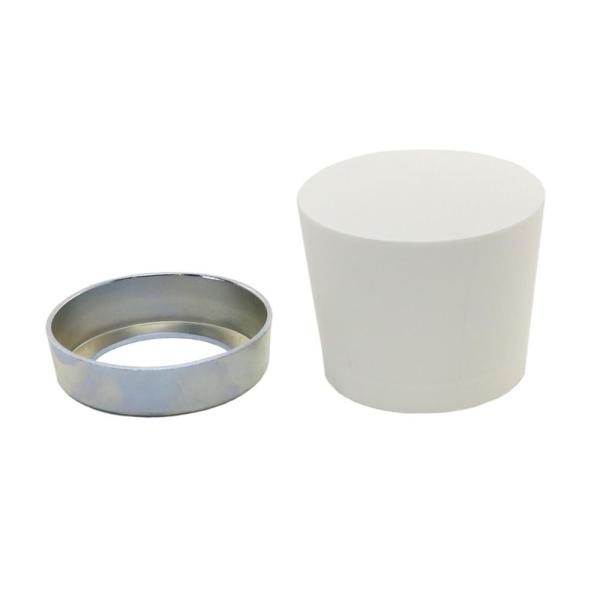 White Rubber Mallet Head Replacement Assembly with Steel Ring for Mallets