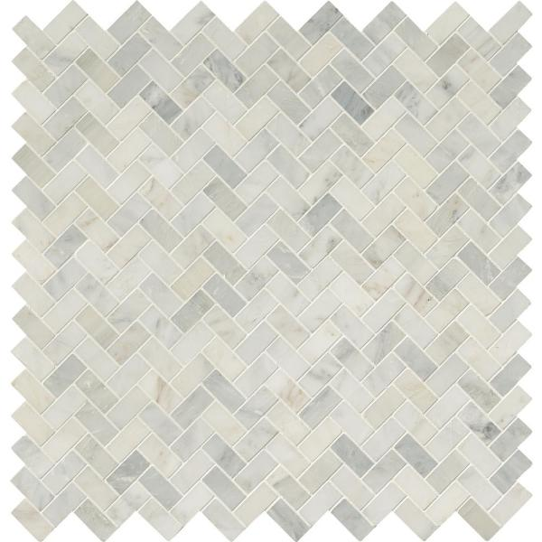 Msi Arabescato Carrara Herringbone Pattern 12 In X 12 In X 10 Mm Honed Marble Mesh Mounted Mosaic Tile 10 Sq Ft Case Smot Ara Hbh The Home Depot
