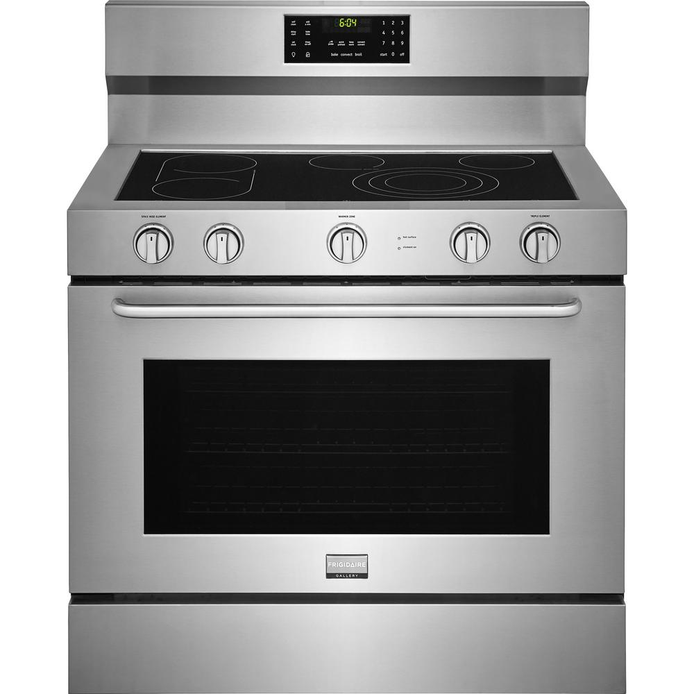 Frigidaire Gallery 40 in. 6.4 cu. ft. Single Oven Electric Range with Self-Cleaning Convection Oven in Stainless Steel