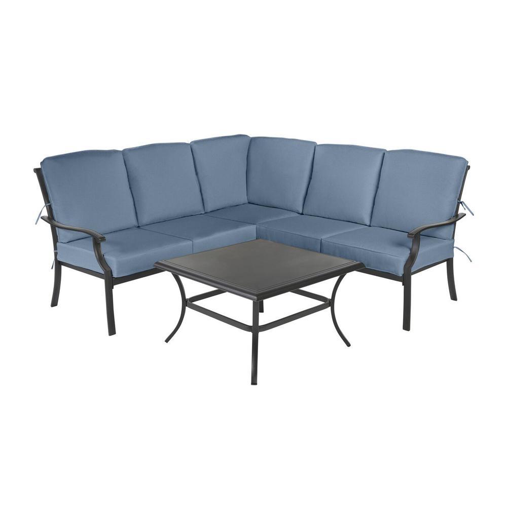 Redwood Valley Black 4-Piece Steel Outdoor Patio Sectional Sofa Set with Sunbrella Denim Blue Cushions