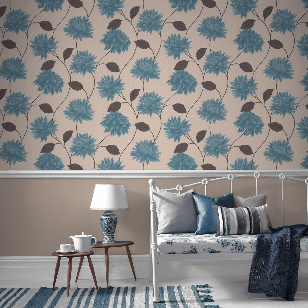 Graham & Brown Romance Teal Removable Wallpaper Sample-30