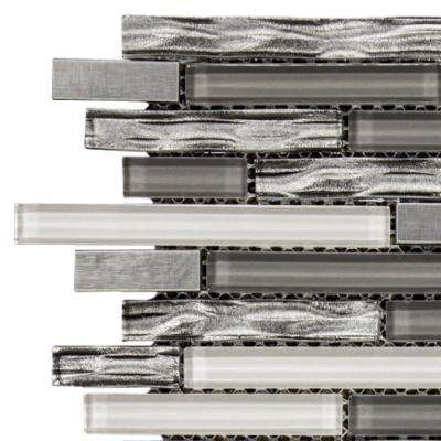 Waves of Grey 3 in. x 6 in. x 8 mm Glass/Metal Mosaic Tile Sample