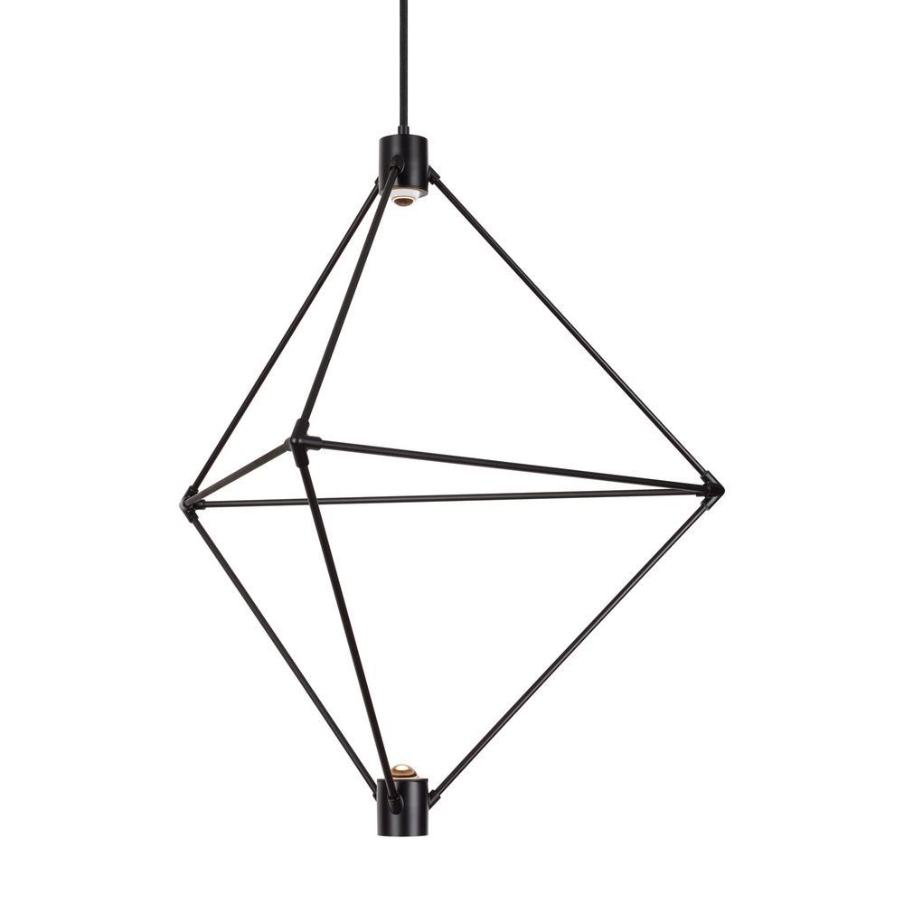 Candora 2-Light Black LED Chandelier