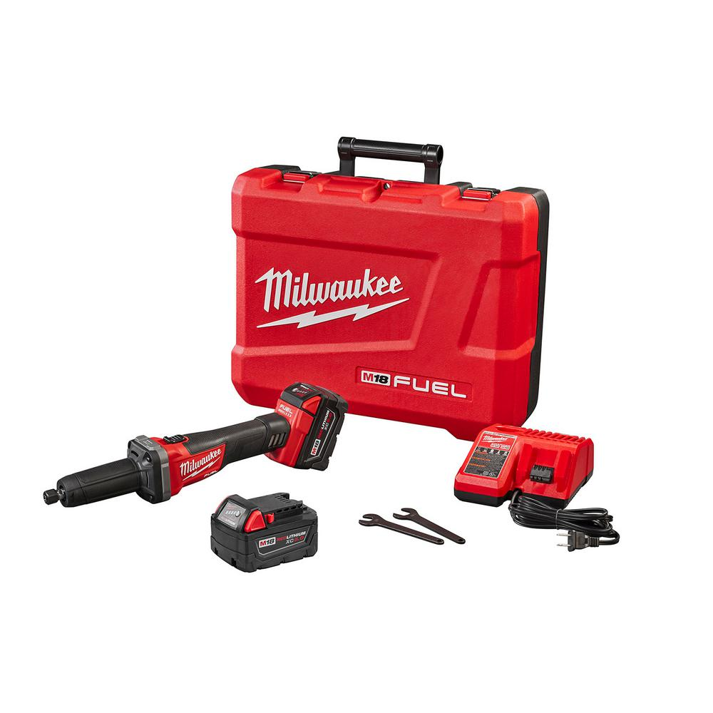 Milwaukee M18 FUEL 18-Volt Lithium-Ion Brushless Cordless 1/4 in. Die Grinder Kit W/(2) 5.0Ah Batteries, Charger & Hard Case