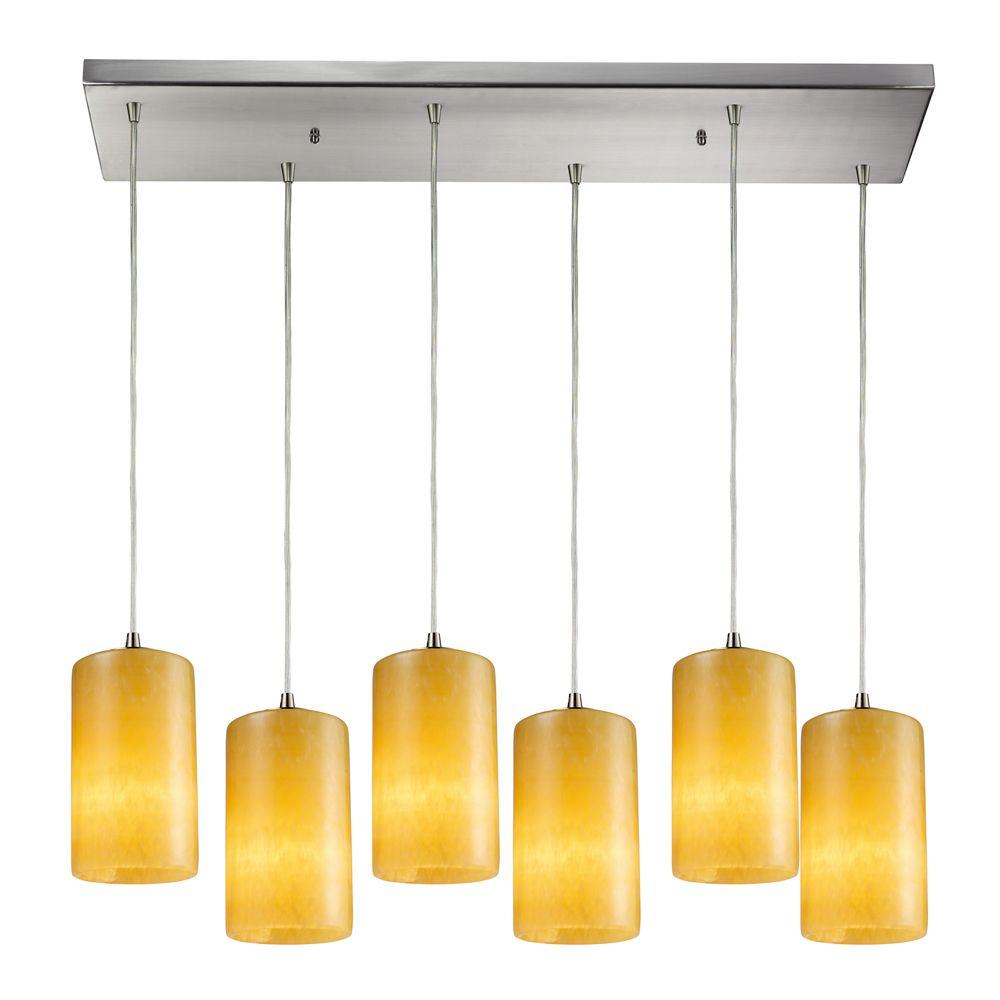Coletta 6-Light Satin Nickel Ceiling Mount Pendant