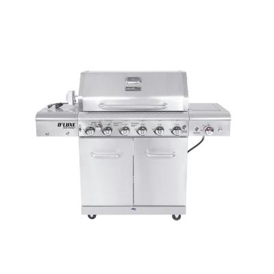 Nexgrill 6-Burner Propane Gas Grill in Stainless Steel w/ Ceramic Searing Side Burner and Rotisserie Kit