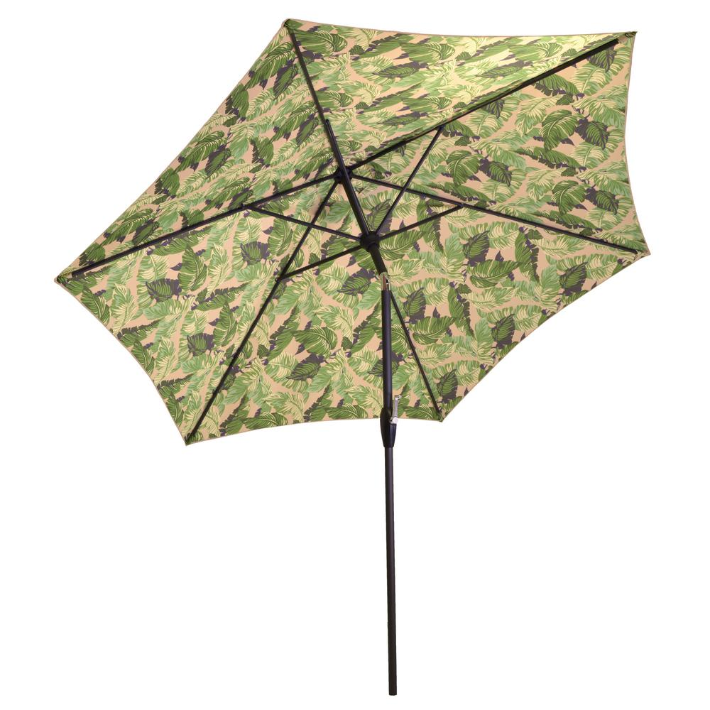 9 ft. Aluminum Market Push Button Tilt Patio Umbrella in Oatmeal/Los