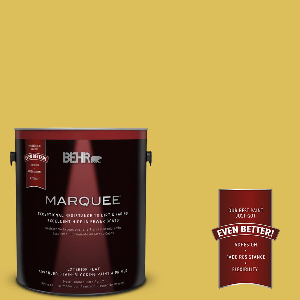BEHR MARQUEE 1-gal. #P320-6 Sulfur Yellow Flat Exterior Paint