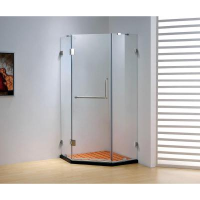 39.4 in. x 79 in. Frameless Neo-Angle Hinged Shower Door in Chrome with Handle