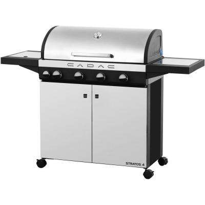 Stratos 4-Burner Freestanding Propane Gas Grill in Stainless Steel with Side Burner