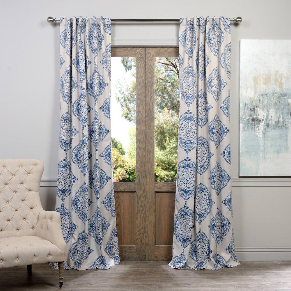 Exclusive Semi-Opaque Henna Blue Blackout Curtain - 50 in...