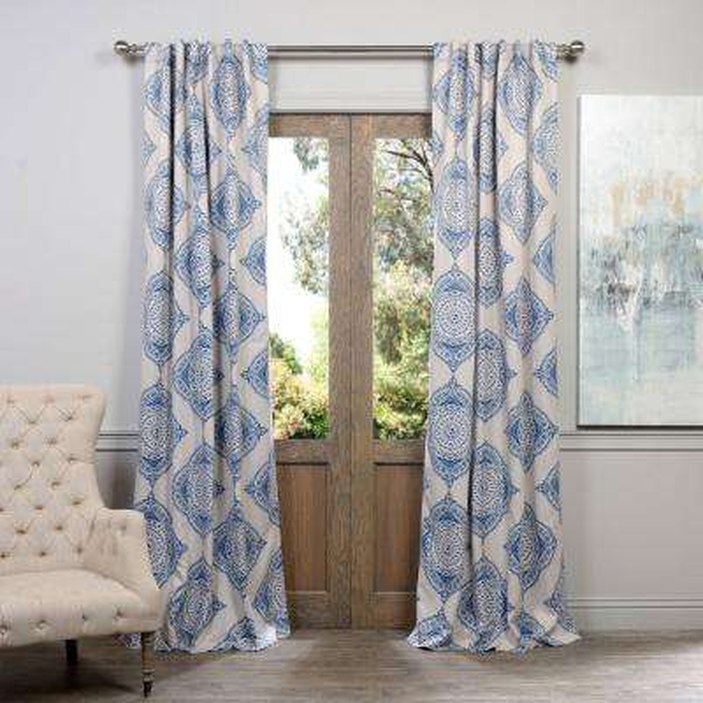 Semi-Opaque Henna Blue Blackout Curtain - 50 in. W x 84 in. L (Pair)