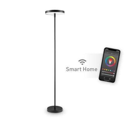 Wi-Fi Smart Black Multicolor Changing RGB Tunable White LED Integrated Floor Lamp, No Hub Required, 36 Watts