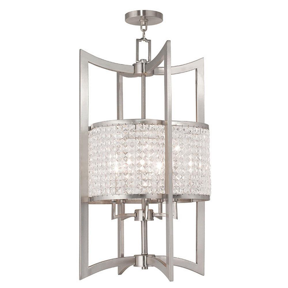 Home Decorators Collection Bella 1 Light Brushed Nickel Pendant With Hardwire 1880010220 The
